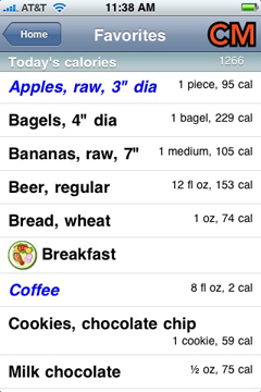 Screen shot of a list of favorite foods